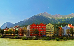 Картинка горы, город, река, фото, дома, Австрия, Innsbruck