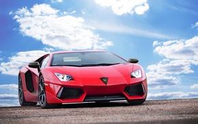 Картинка небо, облака, Lamborghini, Ламборджини, red, красная, Ламборгини, LP700-4, Aventador, Авентадор, LB834
