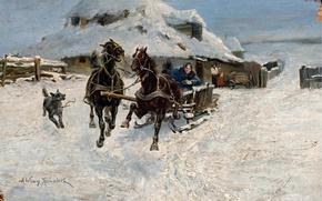 """Картинка зима, настроение, праздник, картина, """"Тройка"""" мчится, Альфред фон Веруш-Ковальски"""