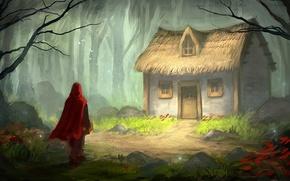 Картинка лес, птицы, дом, сказка, красная шапочка, арт, плащ