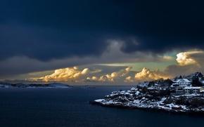 Картинка зима, облака, снег, дома, залив