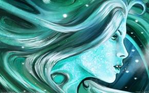 Картинка девушка, волосы, арт, профиль, искорки, andry jones, голубые тона