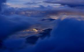Картинка облака, пейзаж, горы, город, высота