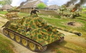 Картинка рисунок, деревня, прототип, немцы, т-34, средний танк, подбитые, VK 3002 DB