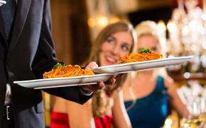 Картинка women, food dish, serving food at a restaurant