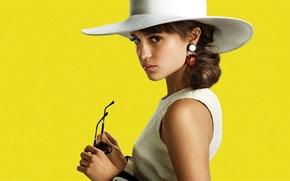 Картинка взгляд, шляпа, актриса, очки, Alicia Vikander