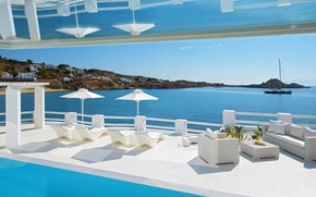 Картинка pool, view, Villa, terrace, Mykonos