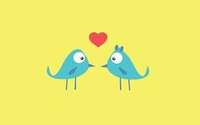 Картинка любовь, птицы, фон, розовый, голубой, обои, сердце, текстура, перья, клюв, птички, love, мультяшные, сердцечко