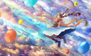 Картинка небо, девушка, облака, шарики, радость, аниме, арт, bounin