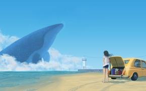 Картинка машина, небо, девушка, облака, океан, берег, аниме, арт, кит, чемоданы, natsu3390