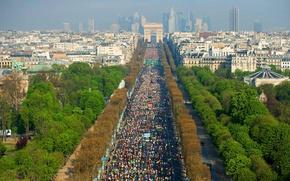 Картинка Франция, 12 апреля 2015 года, Париж, триумфальная арка, панорама, Елисейские поля, марафон, пейзаж