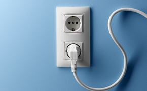 Картинка wall, blue, cable, outlet