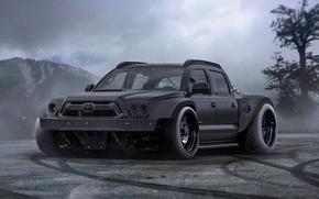 Картинка Toyota, Black, Tuning, Future, SUV, Tacoma, by Khyzyl Saleem, Powered