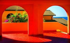Обои крыша, море, Италия, галерея, арка, веранда