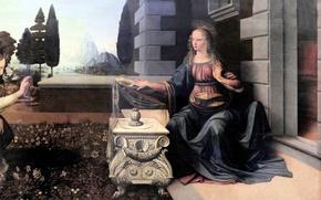 Картинка картина, Florence, Uffizi Gallery, Leonardo da Vinci, Annunciation to 1470-2