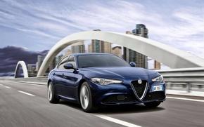 Картинка Синий, Alfa Romeo, Альфа Ромео, Передок, Giulia