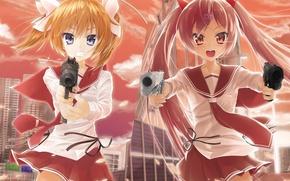 Картинка оружие, девушки, anime, art, Hidan no Aria, Akari Mamiya, Aria Holmes Kanzaki