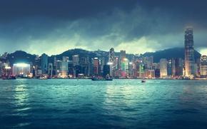 Картинка Гонконг, river, city, город, lights, море, огни, ночь, красивый, night, skyline, здания, горизонт, sky, река, ...