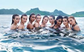 Картинка море, девушки, модели, мокрые, в воде, Candice Swanepoel, Elsa Hosk, Victoria's Secret Angel, Behati Prinsloo, …