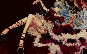 Картинка девушка, кровь, аниме, арт, шрам, ушки, бинты