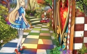 Картинка девушка, арт, дорожка, алиса в стране чудес, alice, шахматка, белый кролик, shigureteki