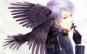 Картинка крест, аниме, перчатки, парень, ворон, красные глаза, военная униформа, Axis Powers: Hetalia, Prussia