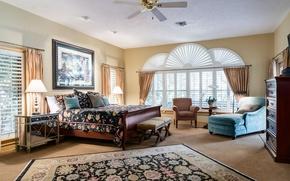 Картинка картина, ковер, комод, кровать, лампа, окна, подушки, спальня, кресло, дизайн