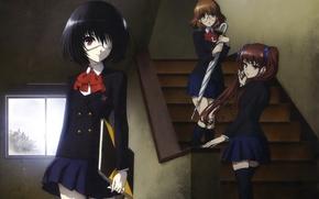 Картинка девушки, зонт, аниме, очки, лестница, тетрадь, anime, школьники, иная, Another, Mei Misaki, Yukari Sakuragi, Izumi …