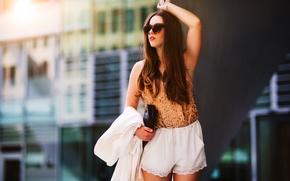 Картинка лето, девушка, лицо, стиль, одежда, волосы, очки, мода