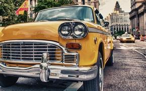 Картинка дорога, машина, город, ретро
