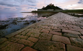 Обои st michael's mount, пейзаж, вечер
