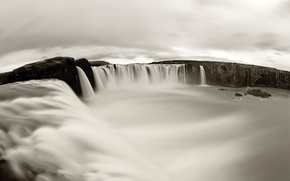 Обои водопад, черно-белое, красотища