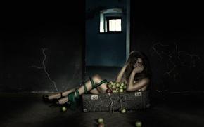 Картинка девушка, яблоки, чемодан, ножки