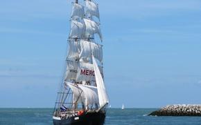 Картинка море, парусник, Mercedes, Северное море, North Sea