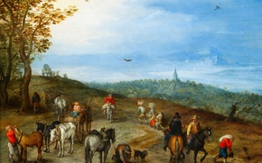 Картинка картина, Пейзаж с Путниками, Ян Брейгель старший
