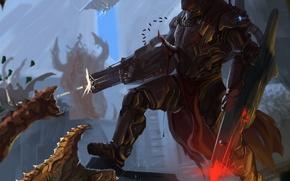 Картинка оружие, монстр, выстрел, воин, арт