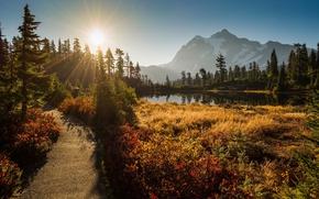 Картинка закат, горы, озеро, Вашингтон, Washington, Каскадные горы, Cascade Range, Picture Lake, гора Шуксан, Mount Shuksan