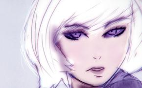 Картинка girl, eyes, anime, purple, white hair