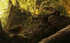 Картинка лес, ягоды, дракон, дракончик, ежевика, прица