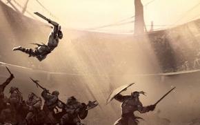 Картинка фентези, меч, бой, воин, арт, броня, топор, арена, Орк