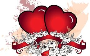 Обои абстракция, узор, сердечко, цветы