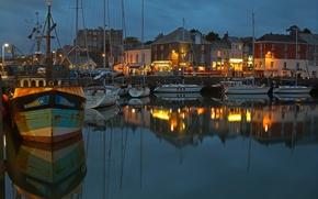Картинка ночь, огни, лодка, Англия, дома, бухта, яхта, Корнуолл, Падстоу