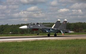 Картинка истребитель, аэродром, многоцелевой, Su-30 SM