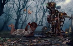 Картинка лес, мечта, дерево, бабочка, сон, Дом, девочка