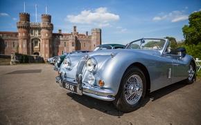 Картинка ретро, Англия, классика, England, Herstmonceux Castle, Замок Хёрстмонсо, Jaguar XK120