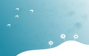 Картинка цветы, птицы, небо, холм