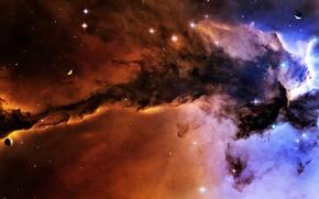 Картинка космос, туманность, планеты, звёзды