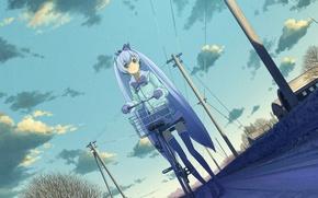 Обои девушка, деревья, велосипед, город, дома, аниме, арт, vocaloid, yuki miku, domo1220