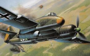 Картинка war, art, painting, aviation, ww2, Blohm & Voss P.194