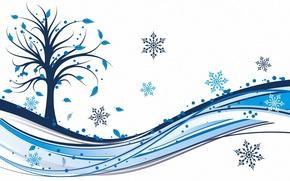 Картинка листья, снежинки, дерево
